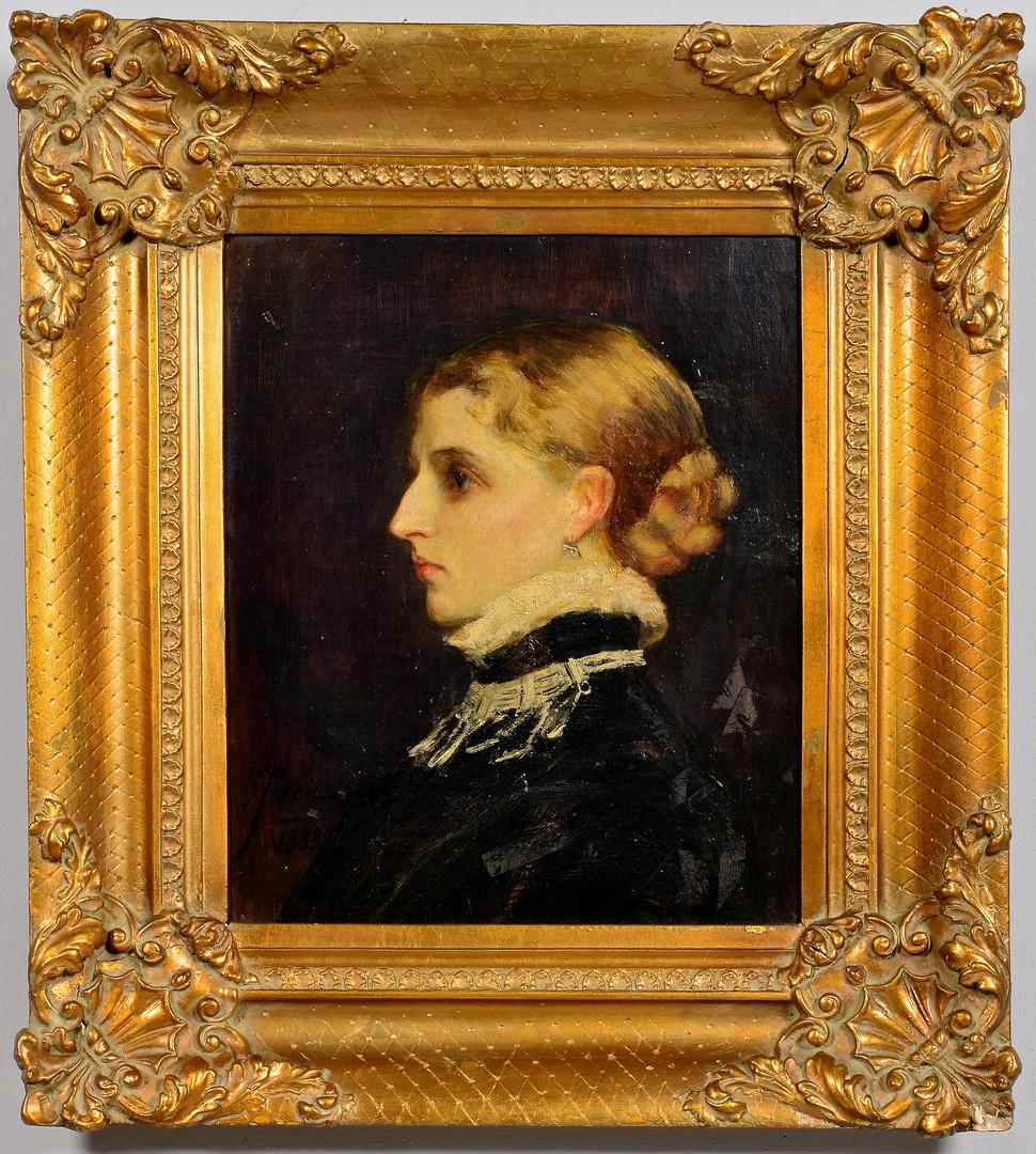 Lot 840: 19th Century Oil on Board Female Portrait