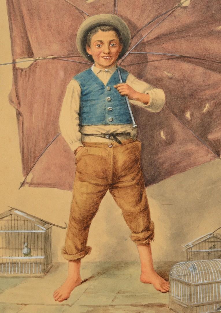 Lot 841: 2 Italian Watercolors of Young Boys
