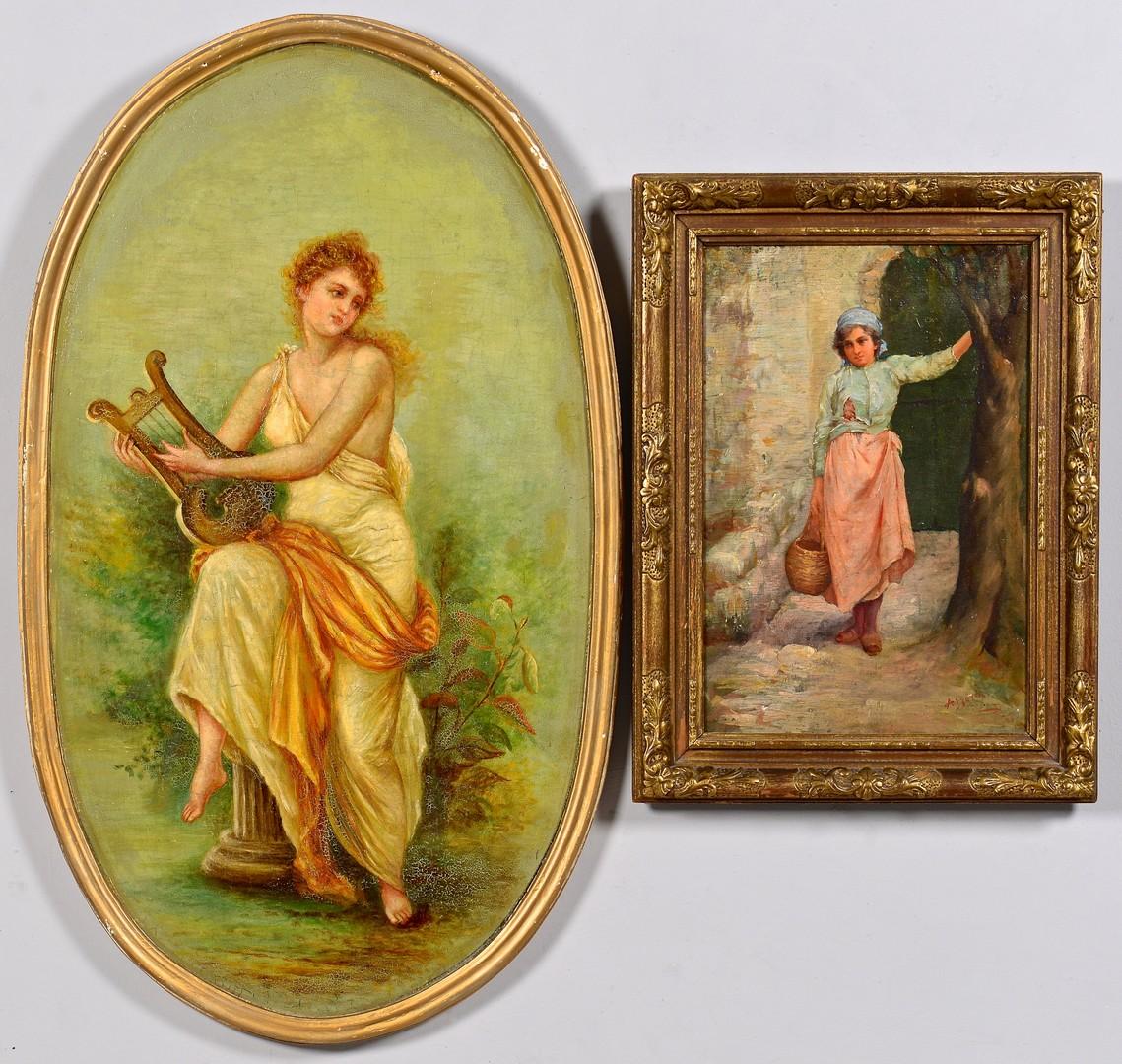 Lot 842: Pair of Oil on Board Female paintings