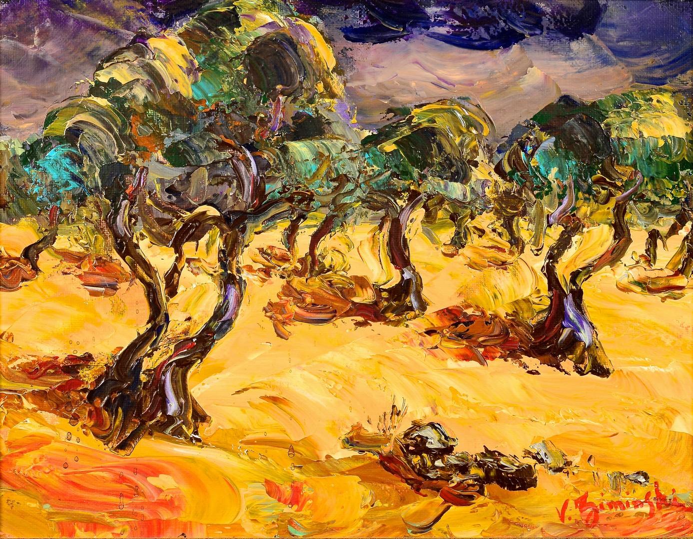 Lot 844: Veronique Ziminski o/c landscape with trees