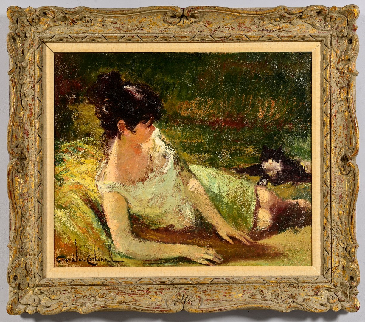 Lot 845: Gonzalez Carbonell Oil on Canvas Portrait