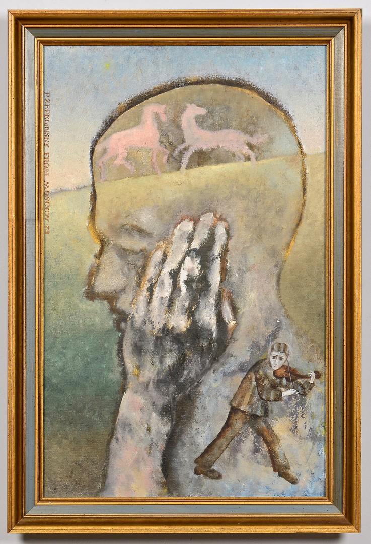 Lot 852: P. Zeppelinsky surrealist oil on canvas