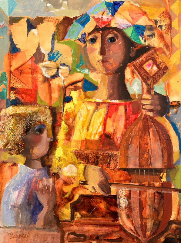 Lot 854: Jordi Domenech Cubist Oil on Board
