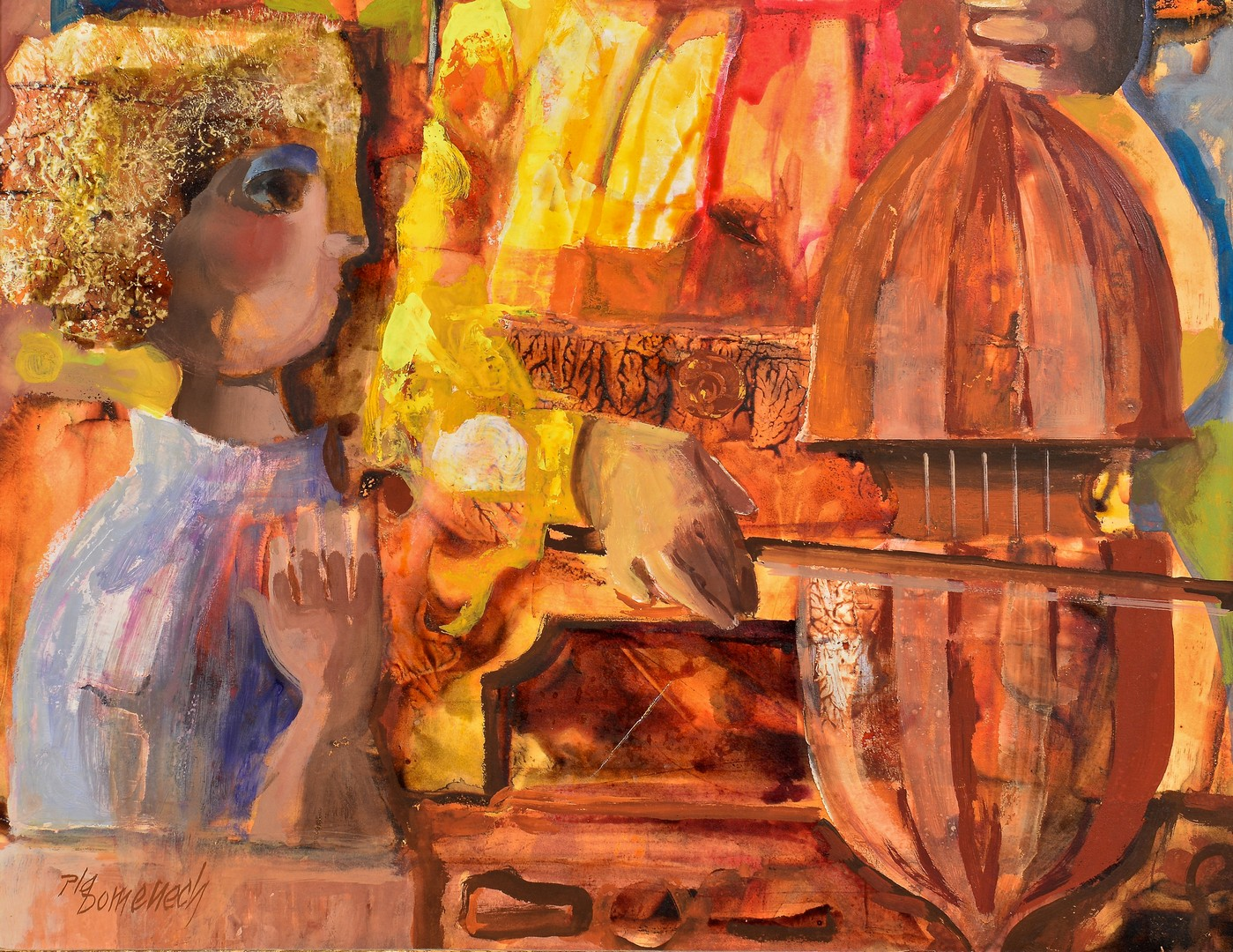 Lot 854: Jordi Domenech Cubist Oil on Board