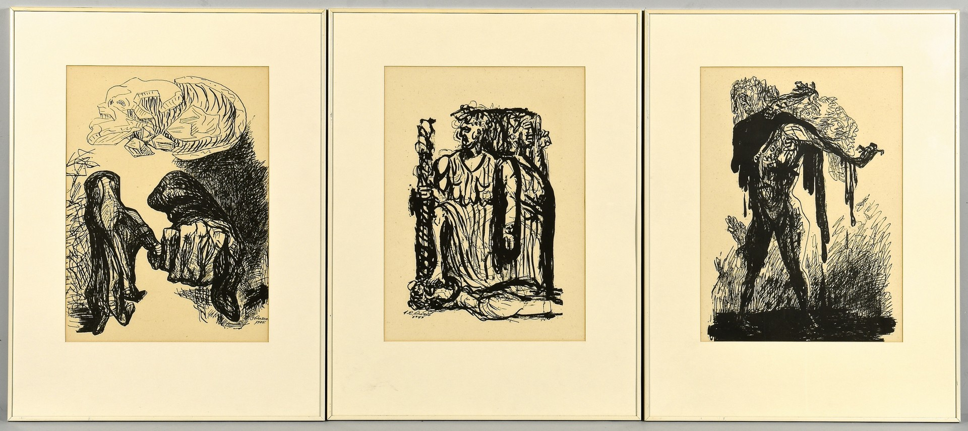 Lot 856: 3 Jose Orozco Lithographs, dated 1945
