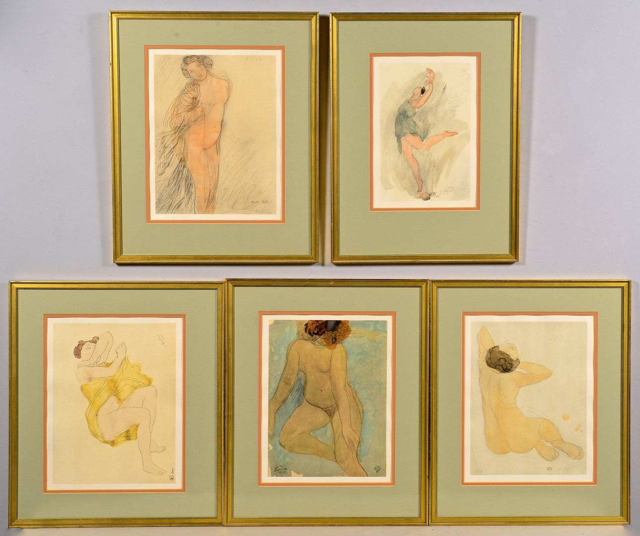 Lot 857: Rodin's Douze Aquarelles Inedites Color Lithograph