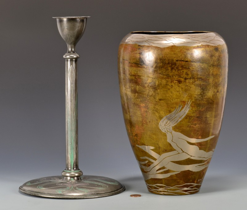 Lot 861: Evolution Dinanderie Vase & Art Deco Candlestick