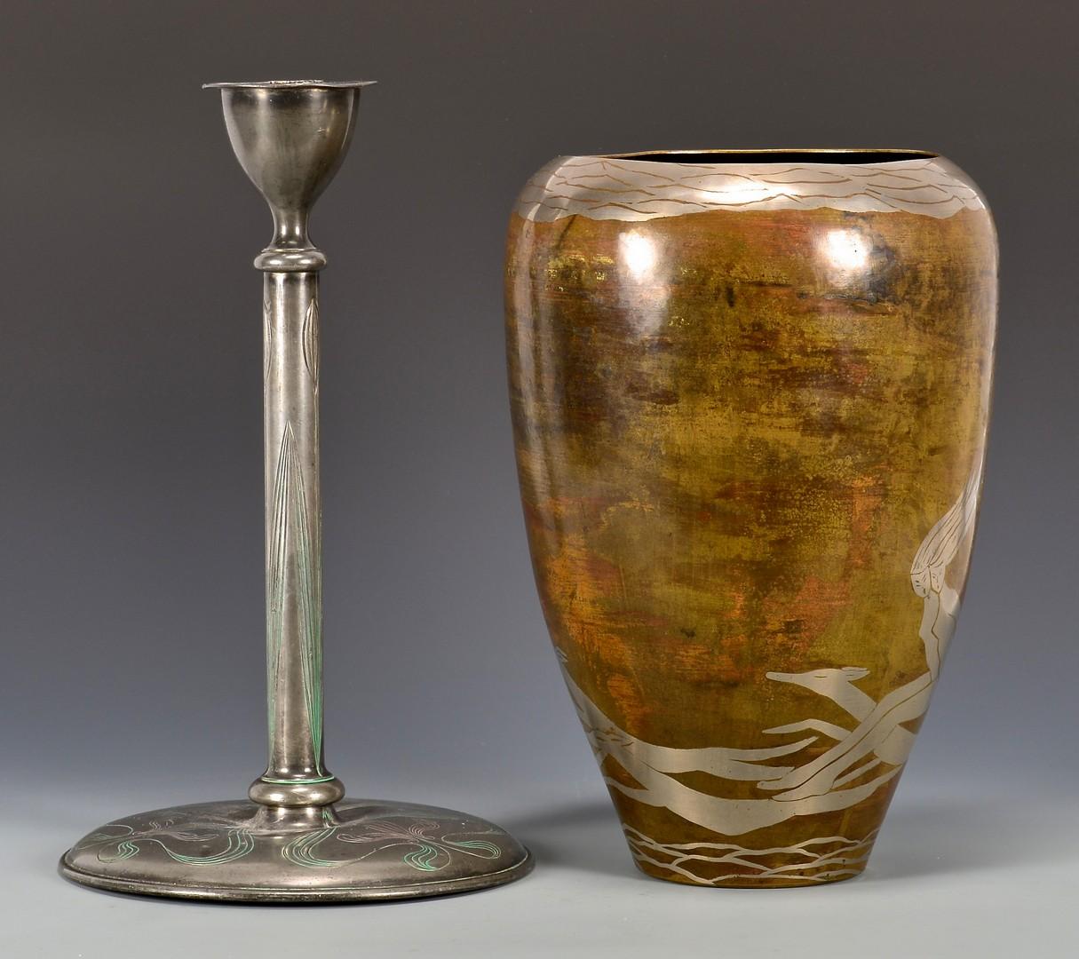Lot 861: Evolution Dinanderie Vase & Art Deco Candlestick