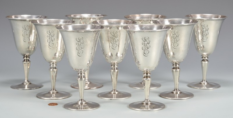 Lot 868: Set of 9 Sterling Goblets