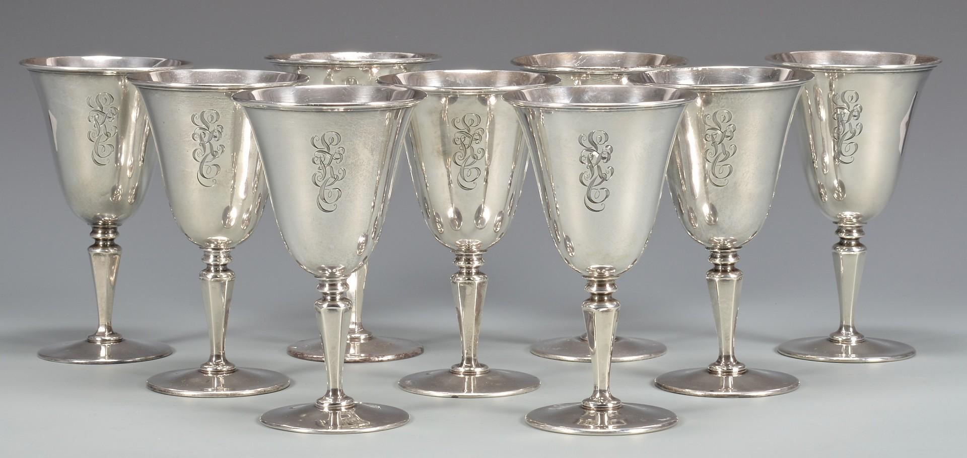 Lot 868: Set of 9 Sterling Goblets