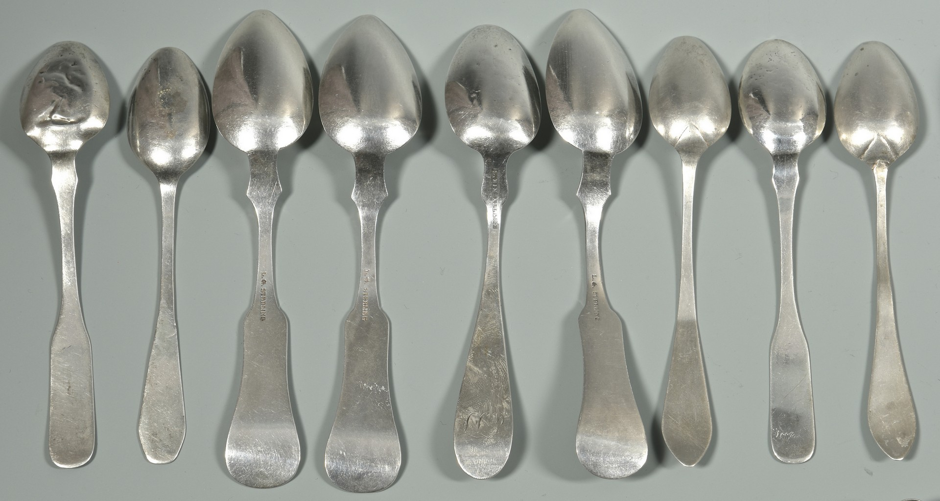 Lot 879: Assd. Sterling and Coin Silver Flatware by unident