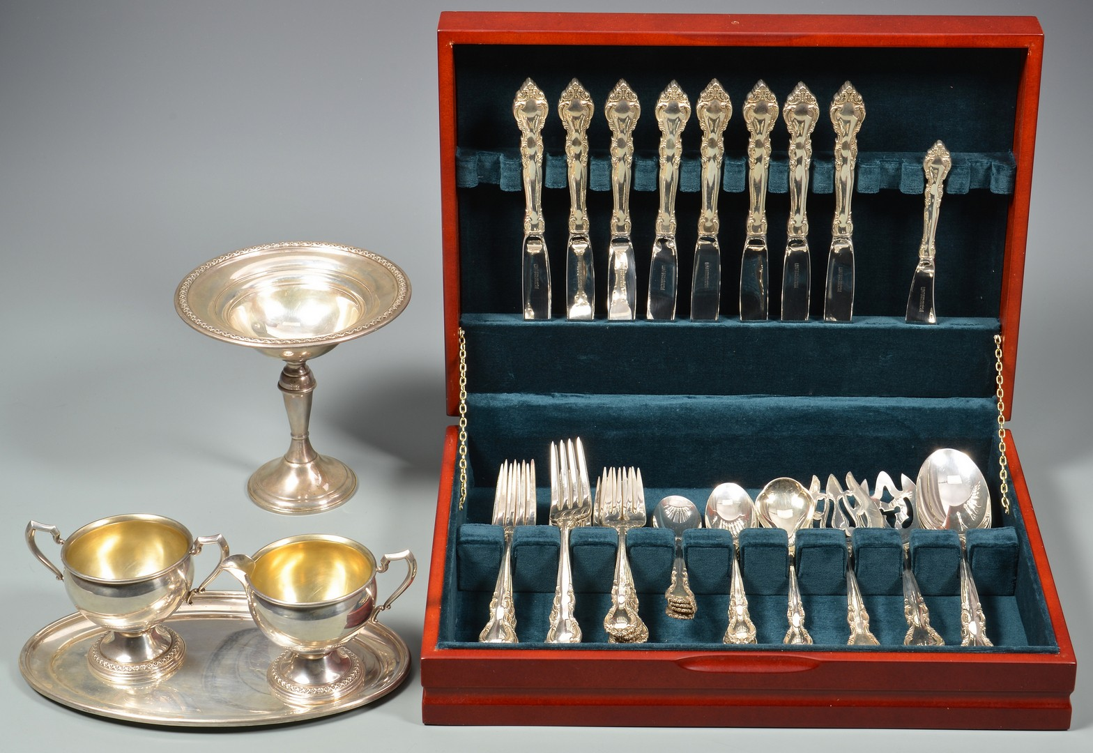 Lot 881: Lunt Malvern Sterling Flatware & More