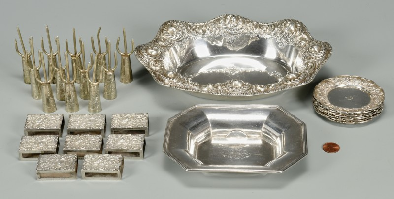 Lot 886: Sterling Matchboxes, Corn Cob holders, and other n