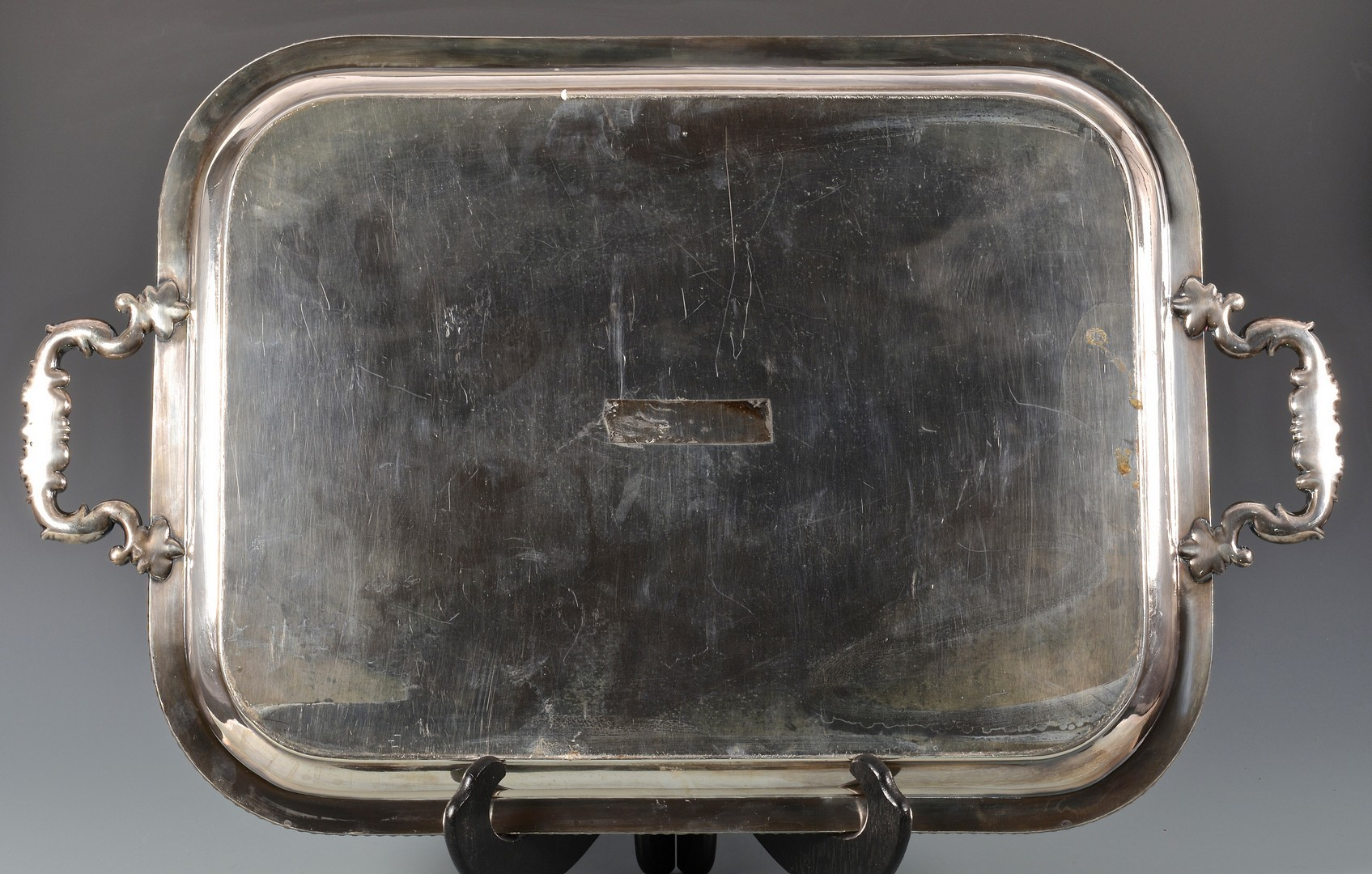 Lot 893: 2 Silverplated Platters with Crests