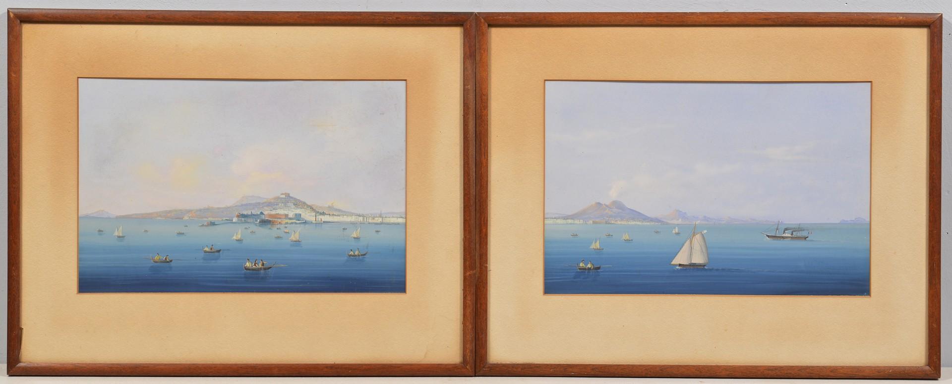 Lot 89: Pair Italian School Mt. Vesuvius Coast Scenes
