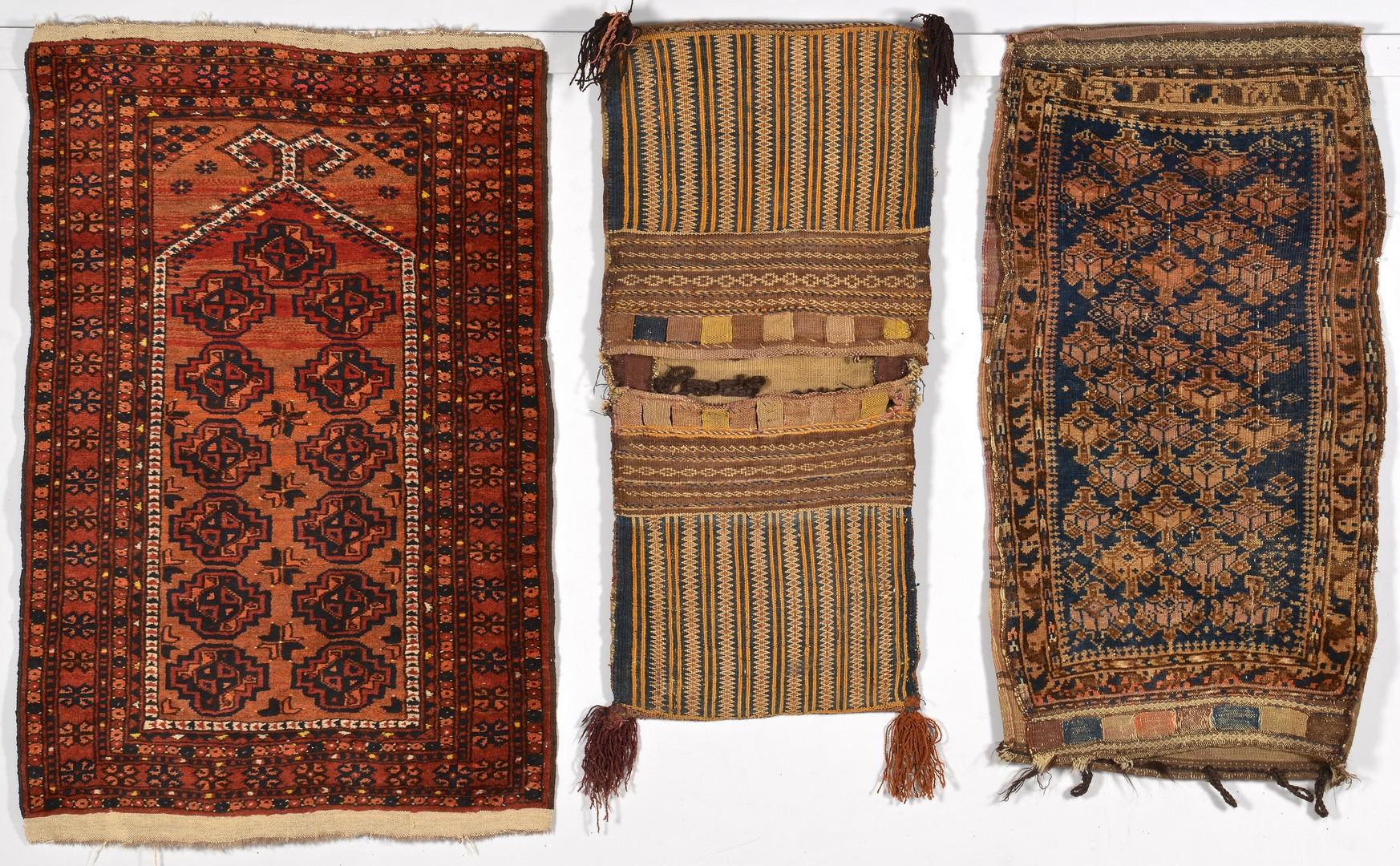 Lot 916: Afghan Prayer Rug and 2 Bags