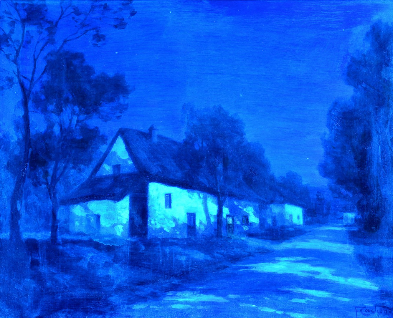 Lot 92: Francois Cachoud O/C, Night Scene