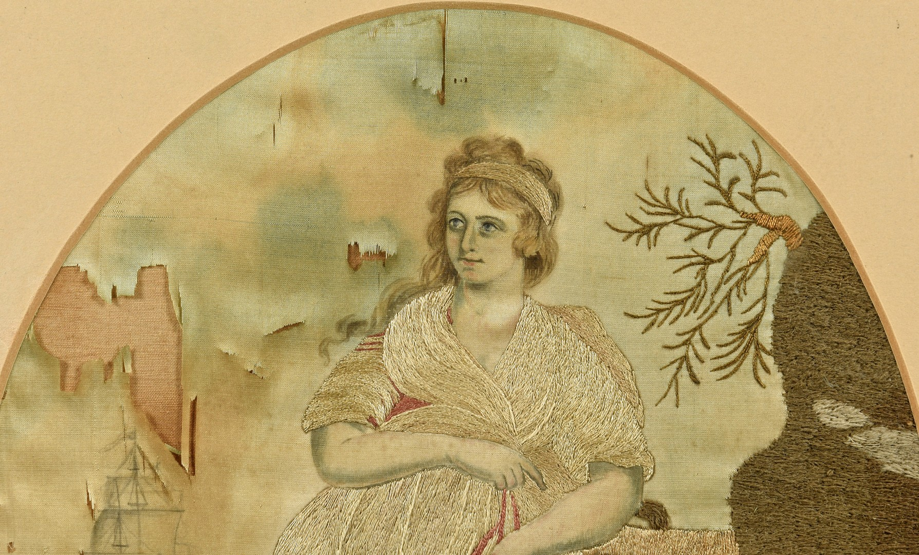 Lot 932: Silk Embroidered Picture with Ship