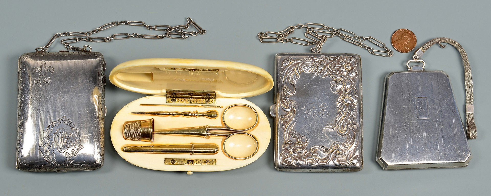 Lot 937: Sterling Coin Purses & Ivory/gold Sewing Kit