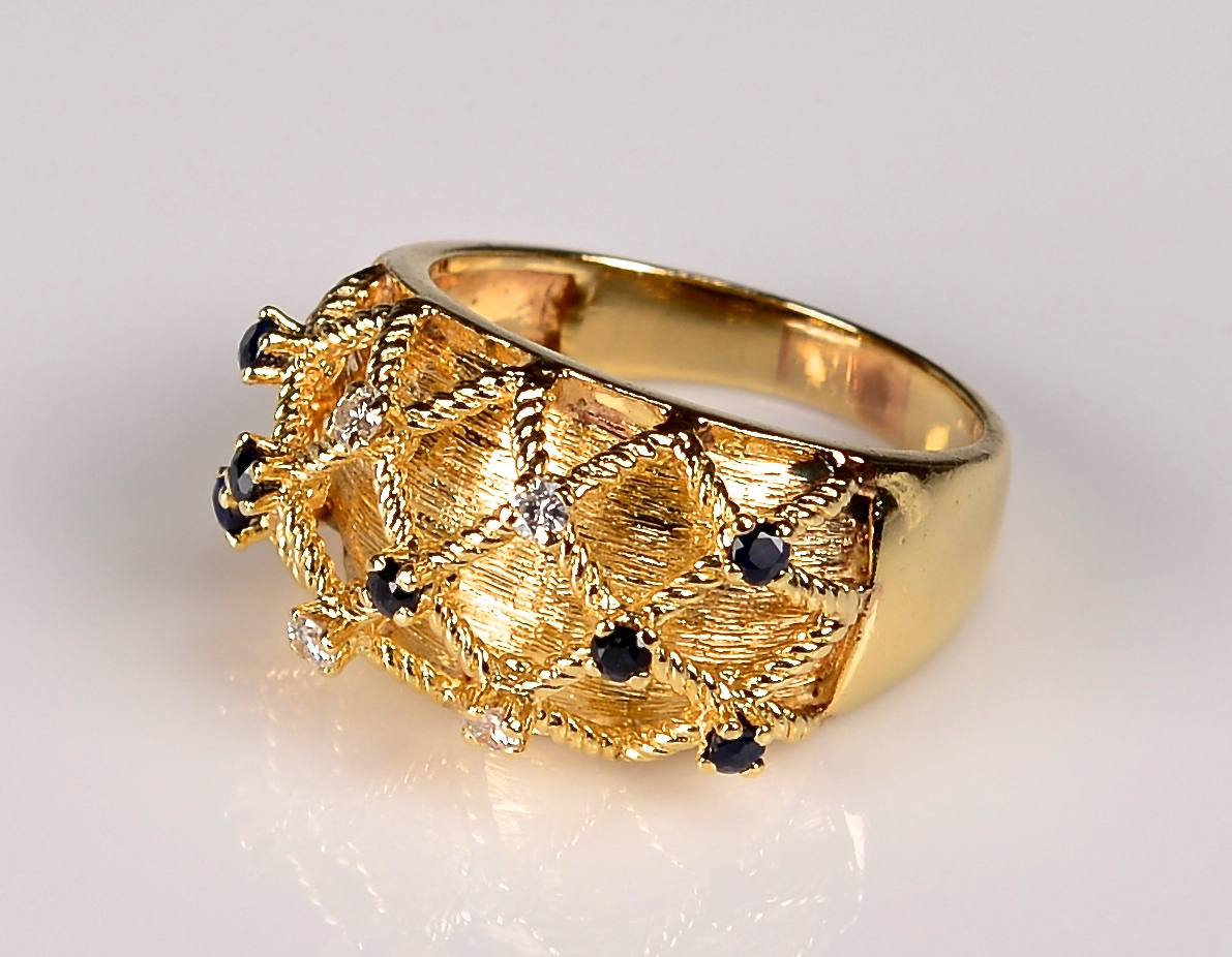 Lot 943: 14K Sapphire and Diamond Dome Ring