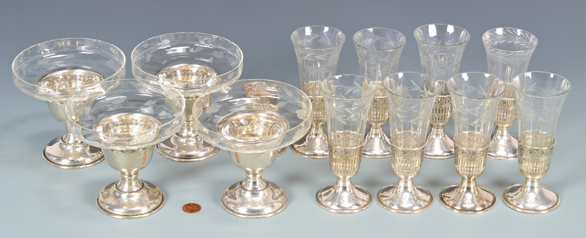 Lot 955: 8 Sterling & Crystal Cordials & 4 Compotes