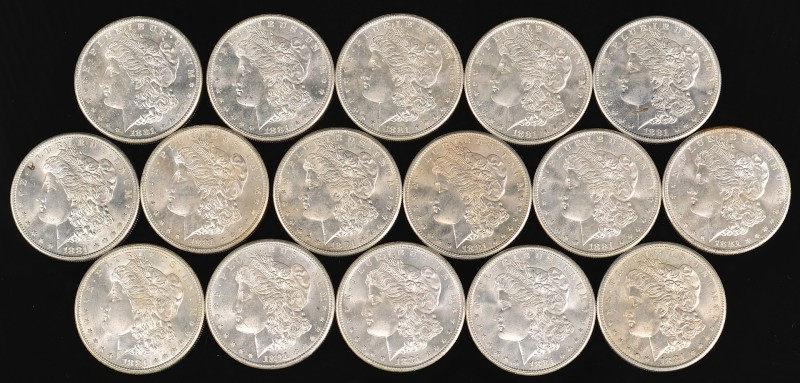 Lot 964: 16 Uncirculated 1881 Morgan Silver Dollars