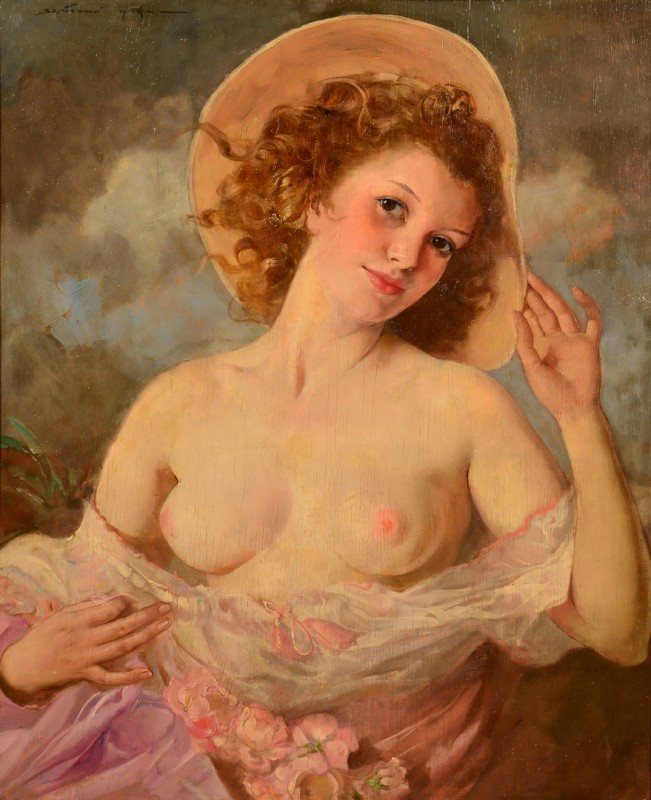 Lot 96: Maria Szanto Oil on Board Nude