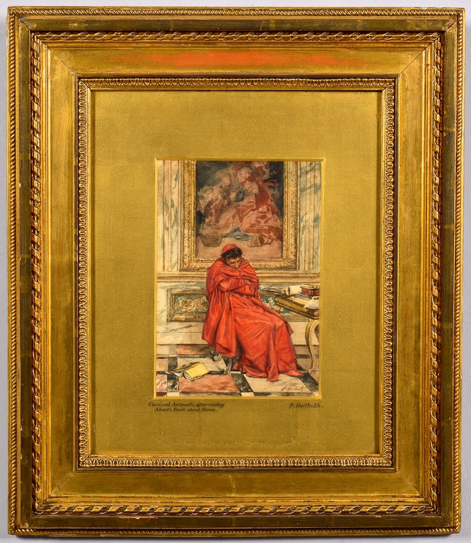 Lot 99: F. Heilbuth Watercolor of Cardinal Antonelli