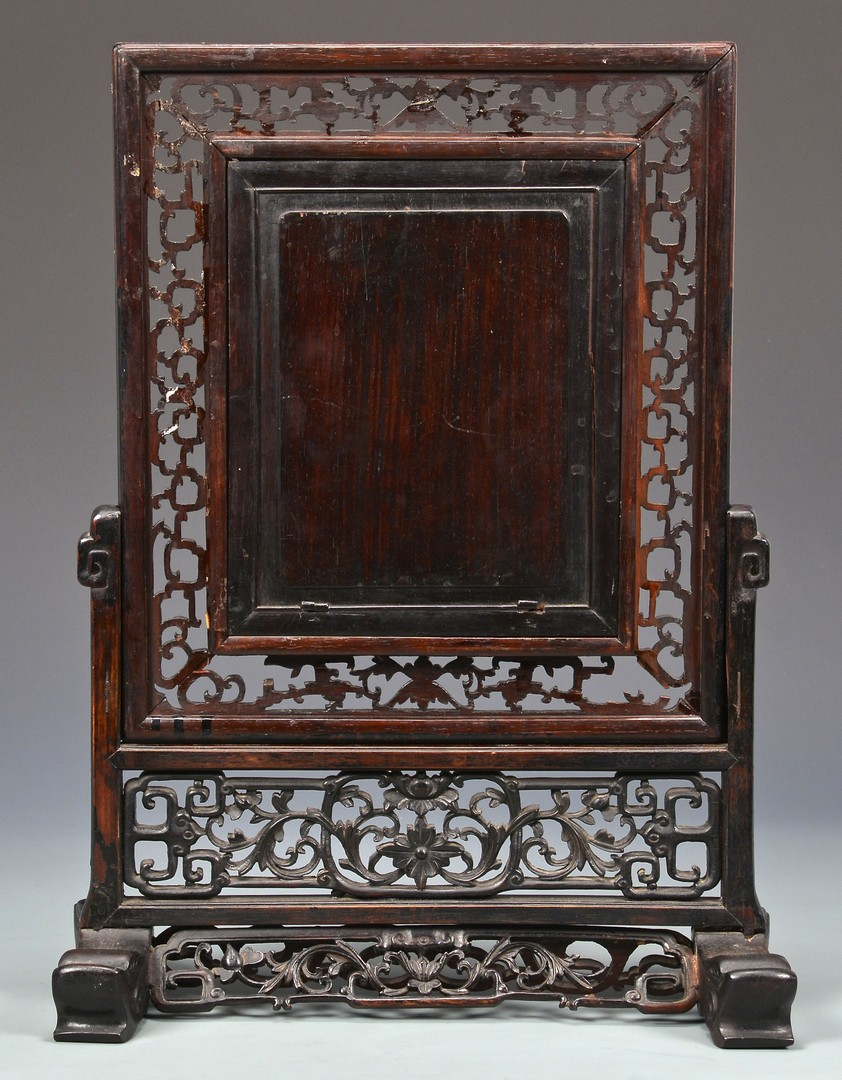 Lot 9: Chinese Table Screen w/ Sancai Plaque
