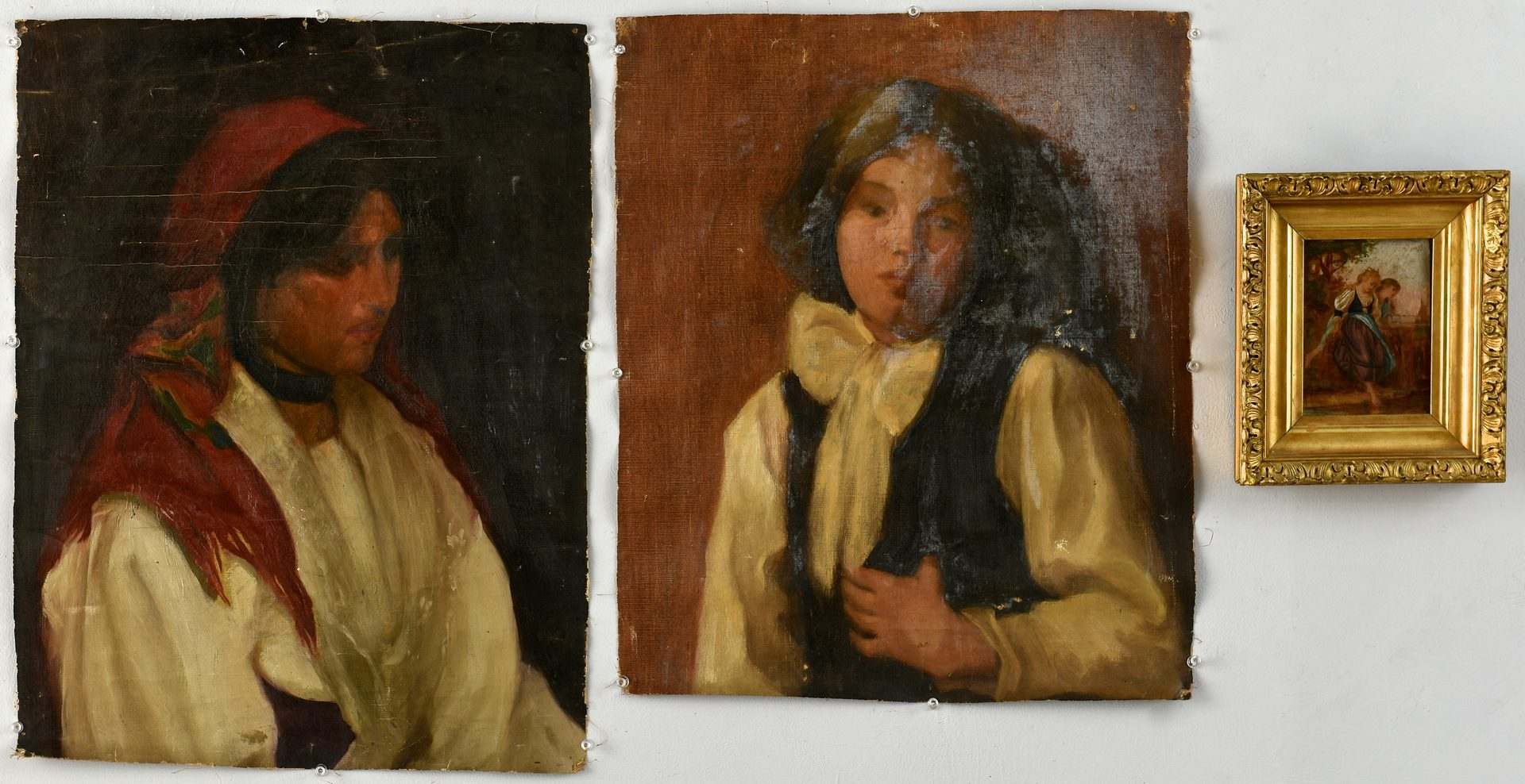 Lot 100: 2 Continental Portraits and 1 oil on board