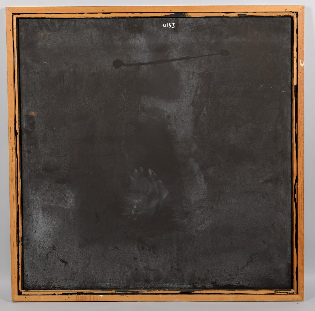 Lot 103: Richard Mann, abstract oil on board, shades of gray