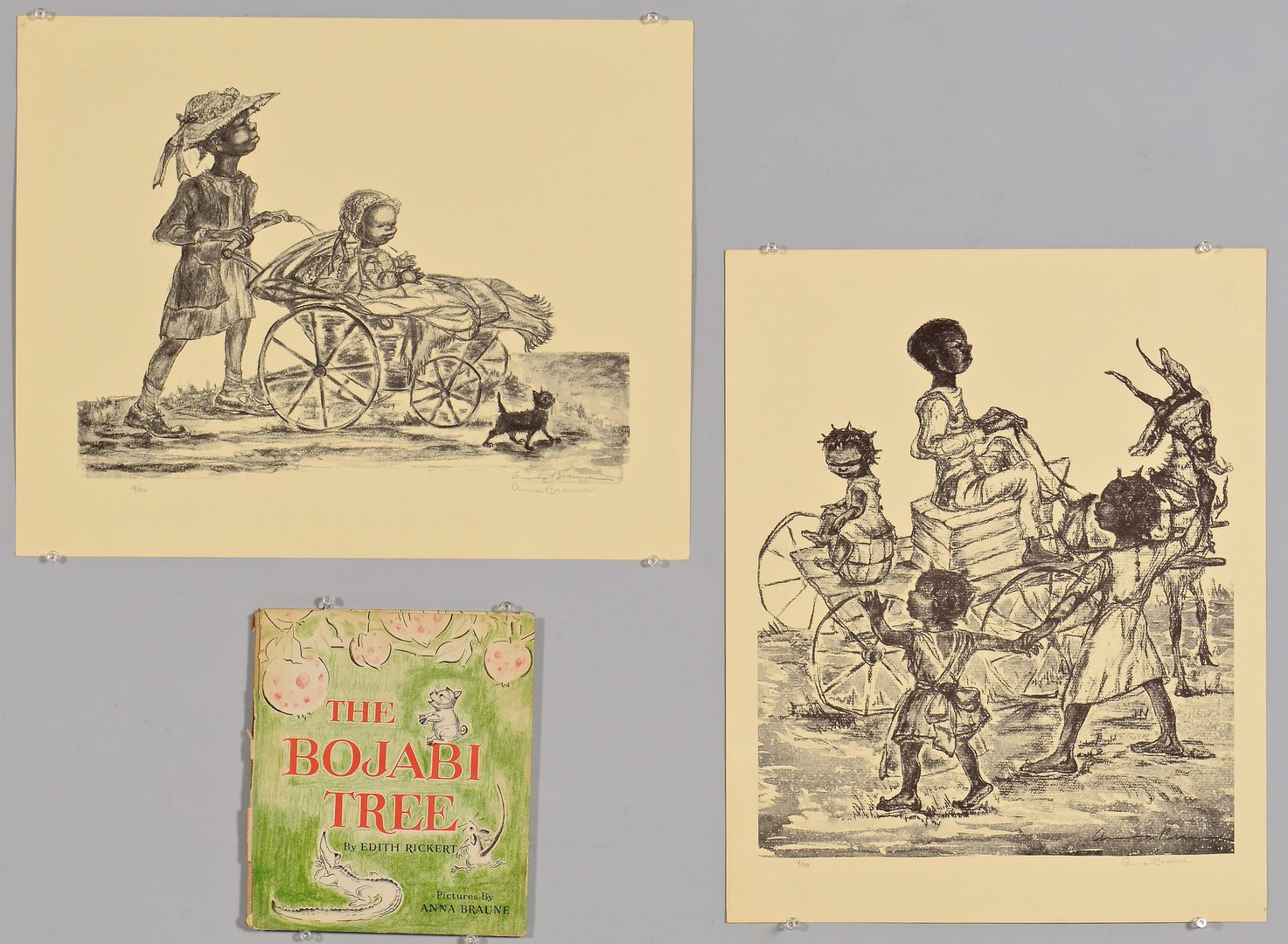 Lot 107: 2 Anna Braune African American Prints & Book