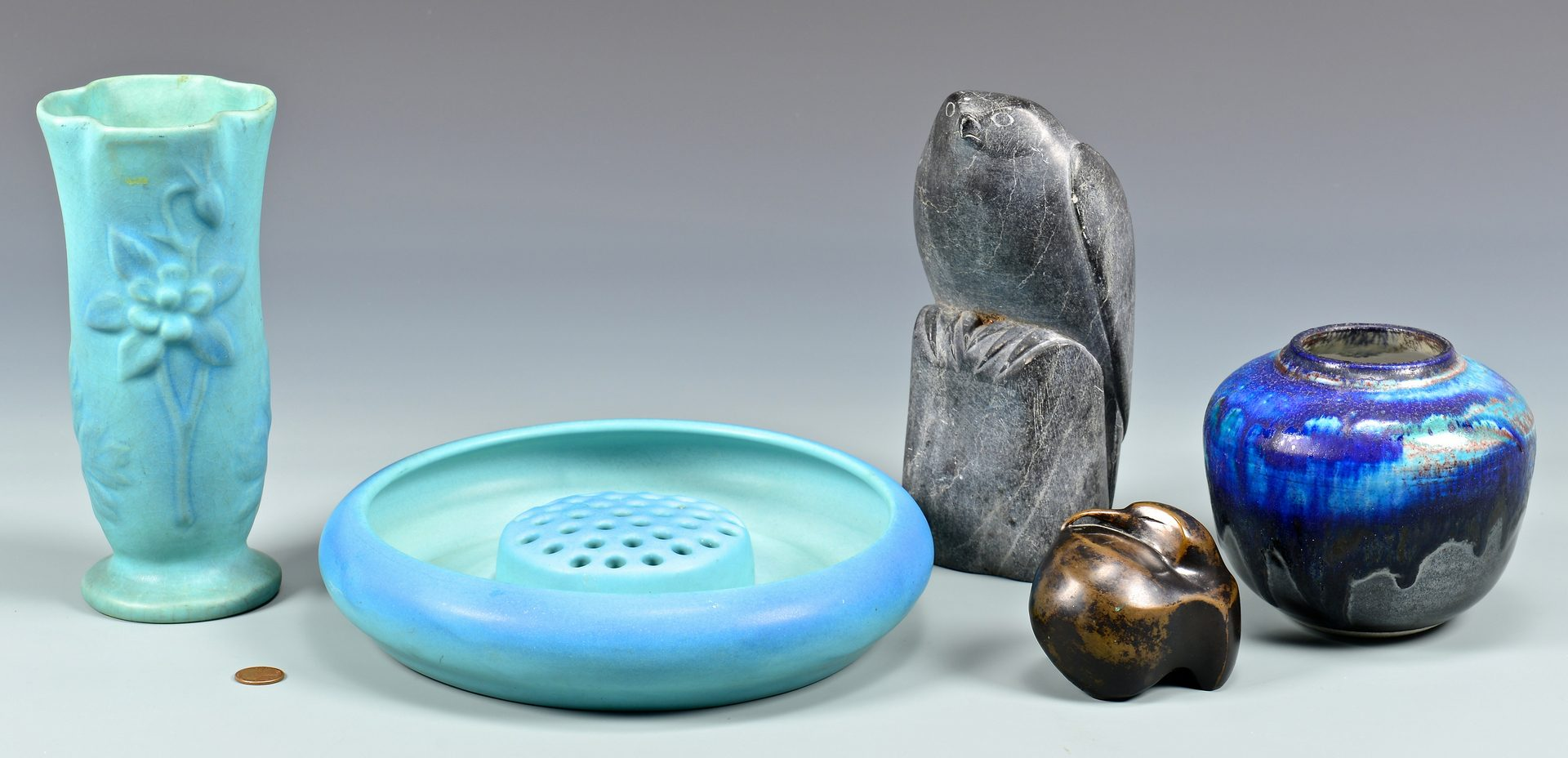 Lot 109: 4 Art Pottery Items & 2 Bird Figurals