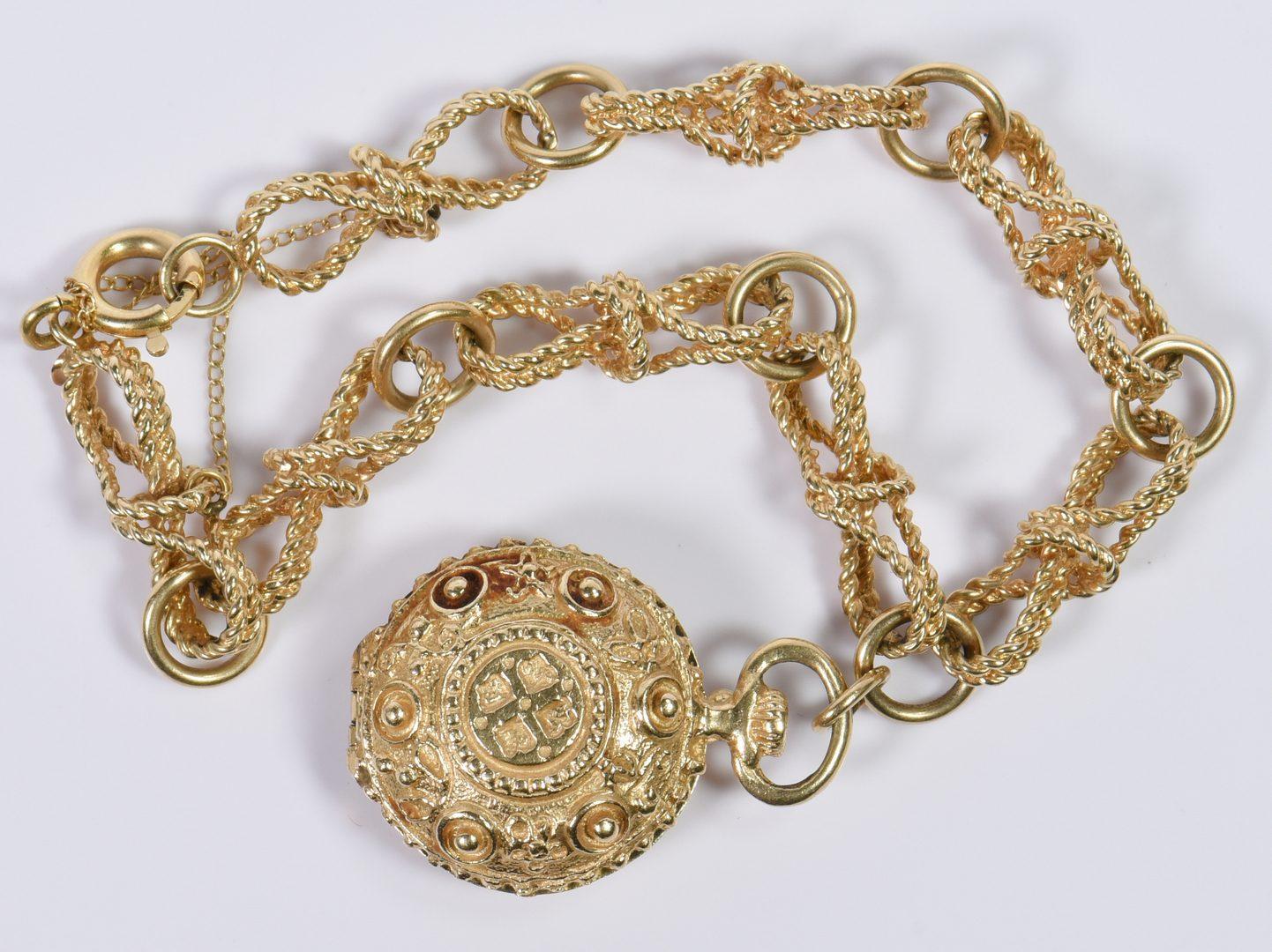 Lot 10: 14K Link Bracelet with Locket