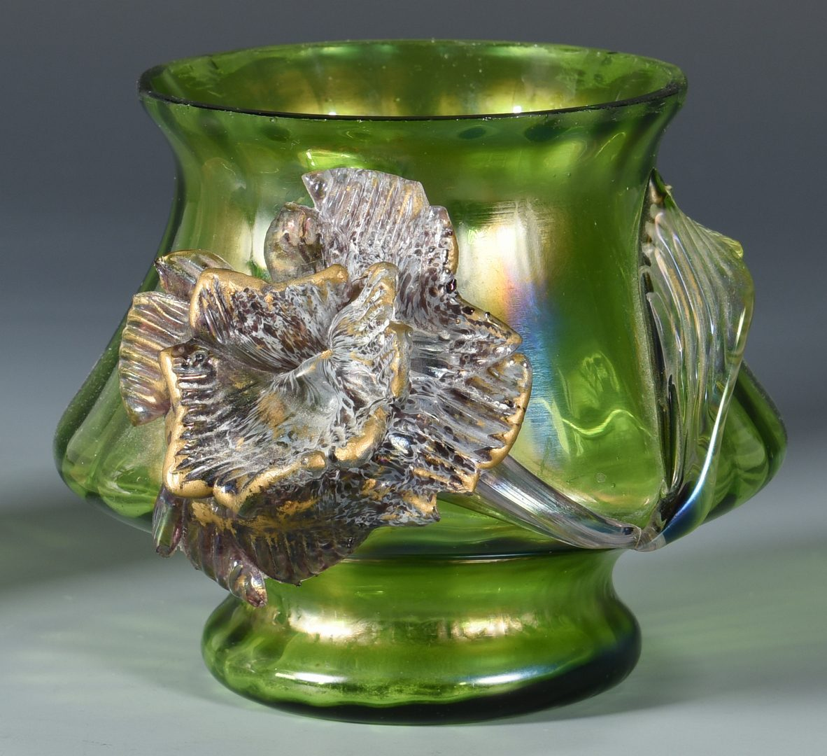 Lot 111: Gilt Metal Mounted Glass Vase & Art Glass Vase