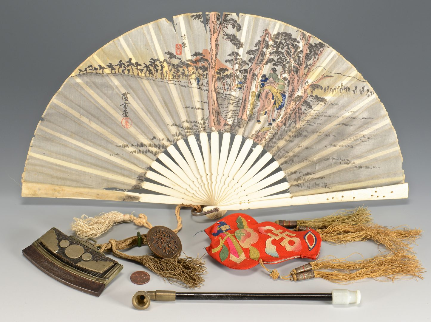 Lot 114: Group of 4 Asian items inc. pipe, fan