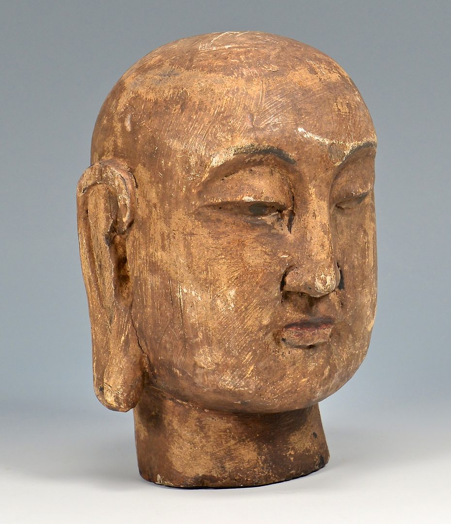 Lot 117: Carved Buddha Head, Cloisonne Vase