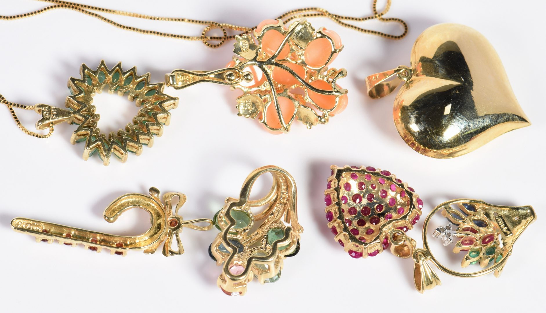 Lot 130: Group Gold Stone Jewelry