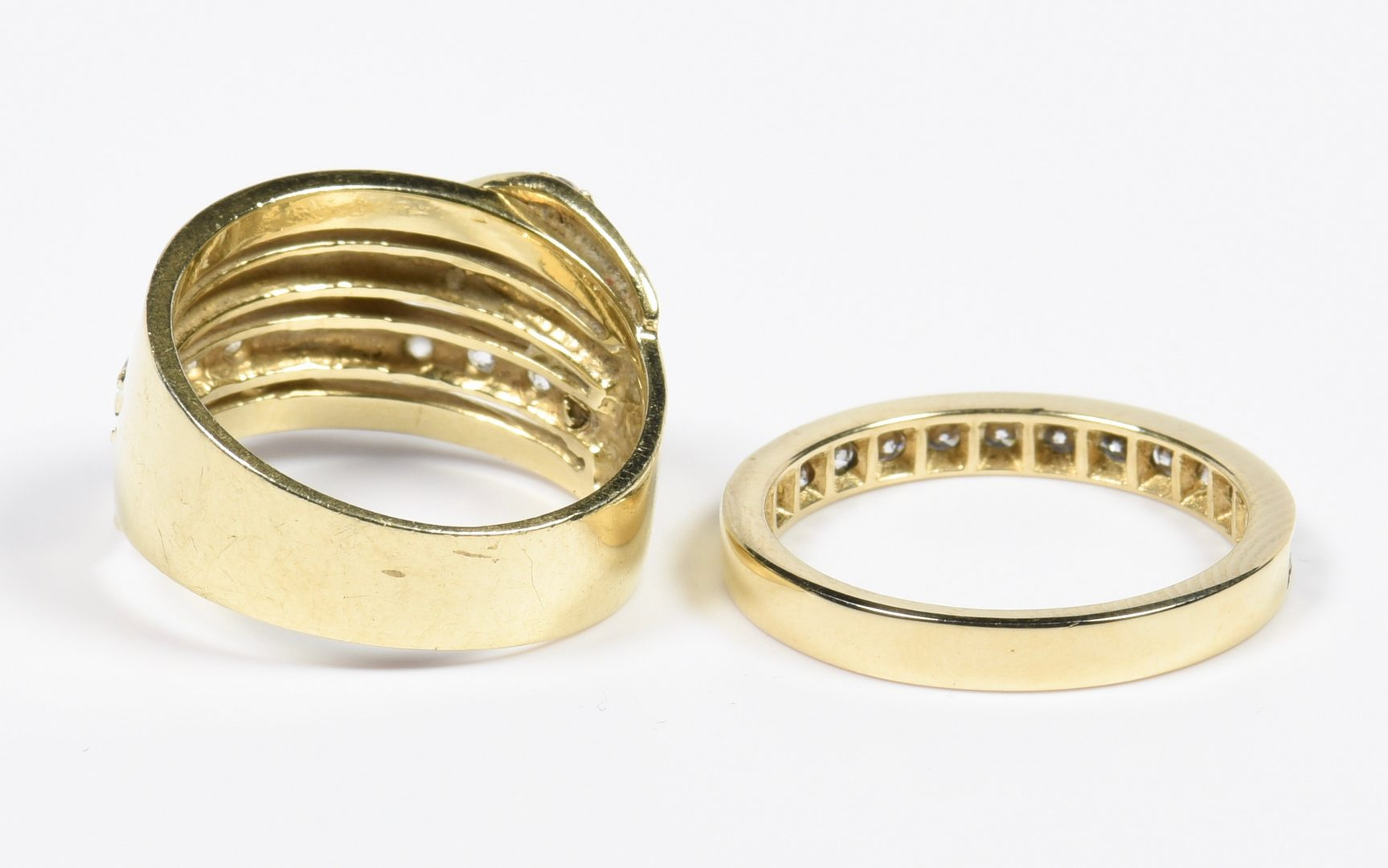 Lot 131: Two 14K  Bands, one with diamonds