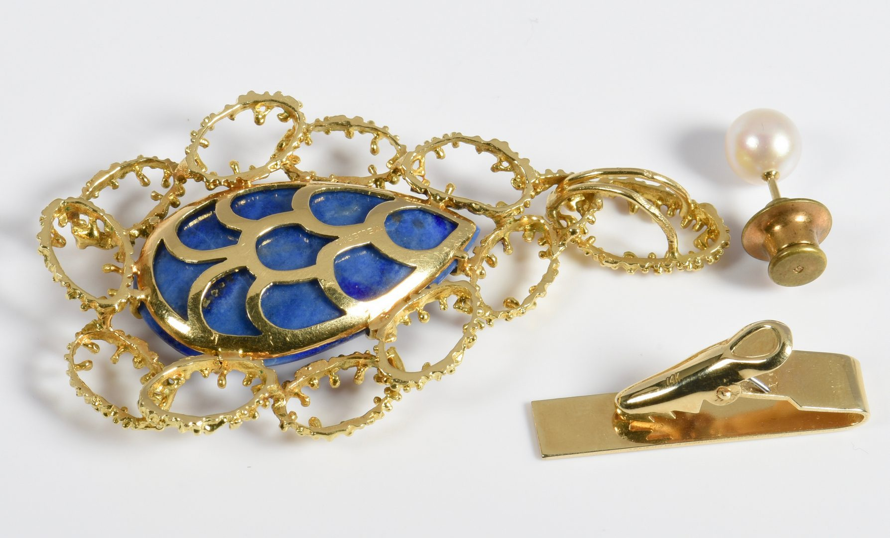 Lot 132: Group of Pearl and Lapis Jewelry