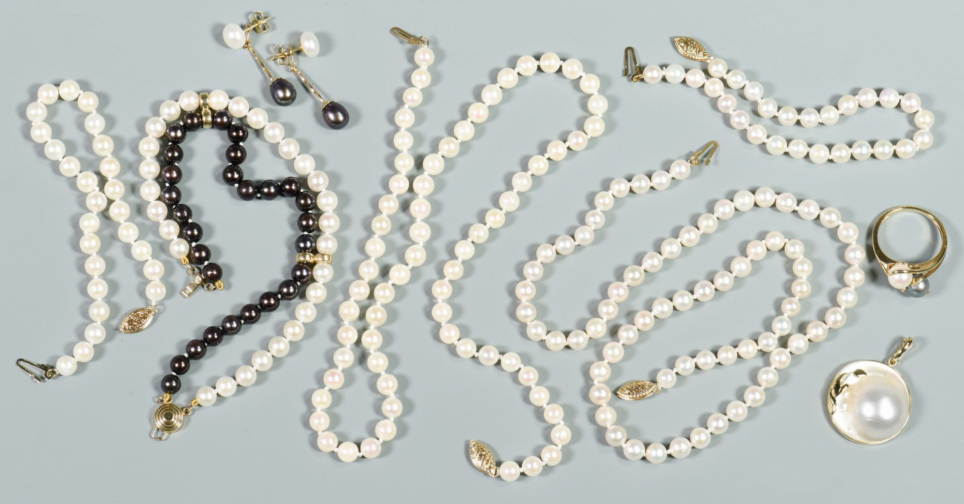 Lot 133: Group of 14K Pearl Jewelry