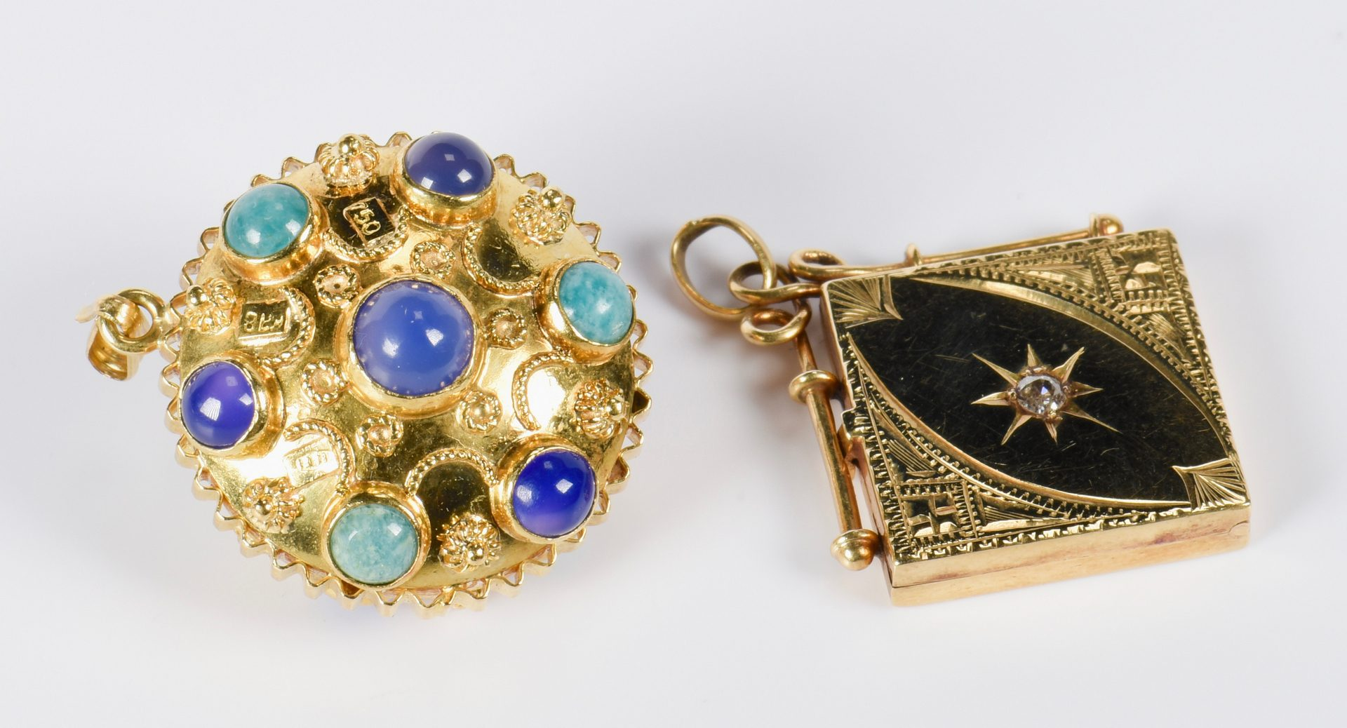 Lot 136: Two 14K Charms  with stones