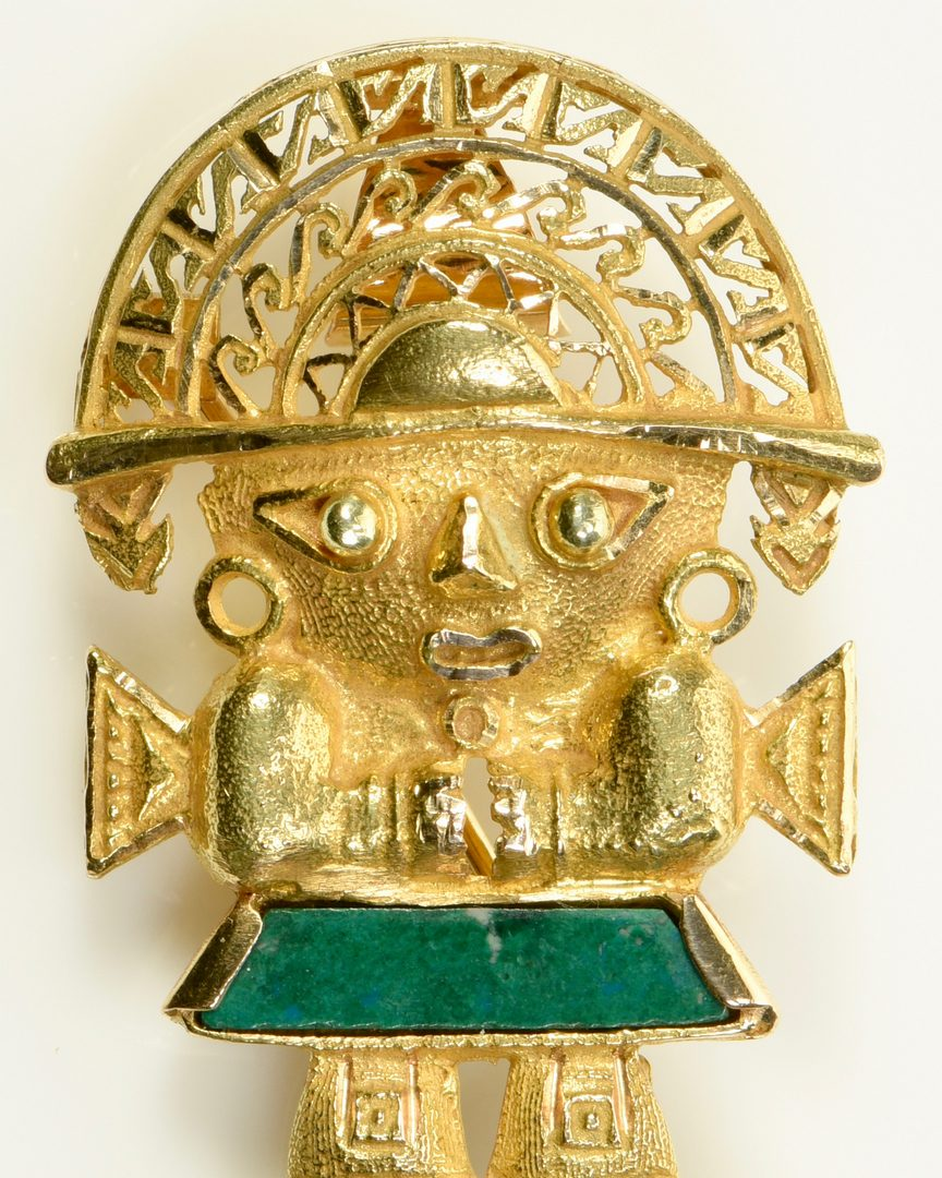 Lot 13: 18K Malachite Inca Deity Pin/Pendant