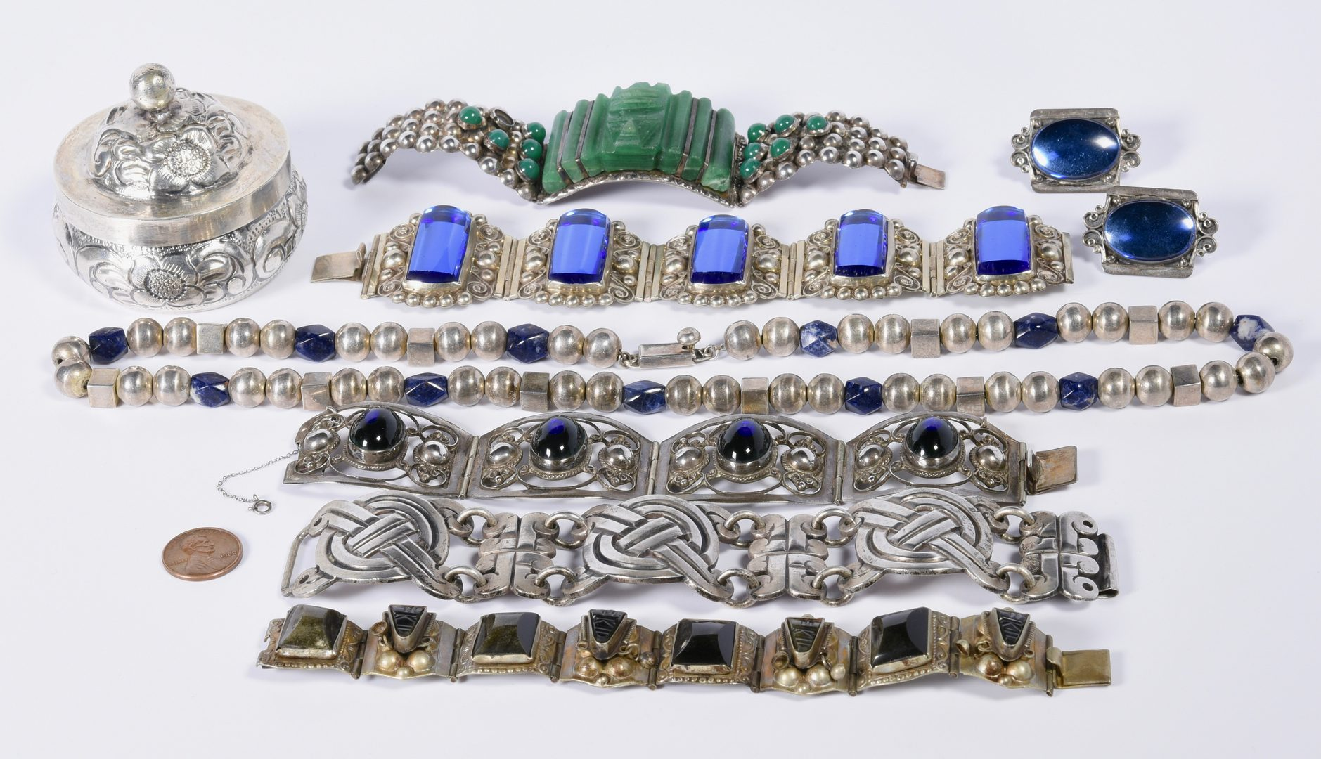 Lot 143: Vintage Sterling Mexican Jewelry, 6 items