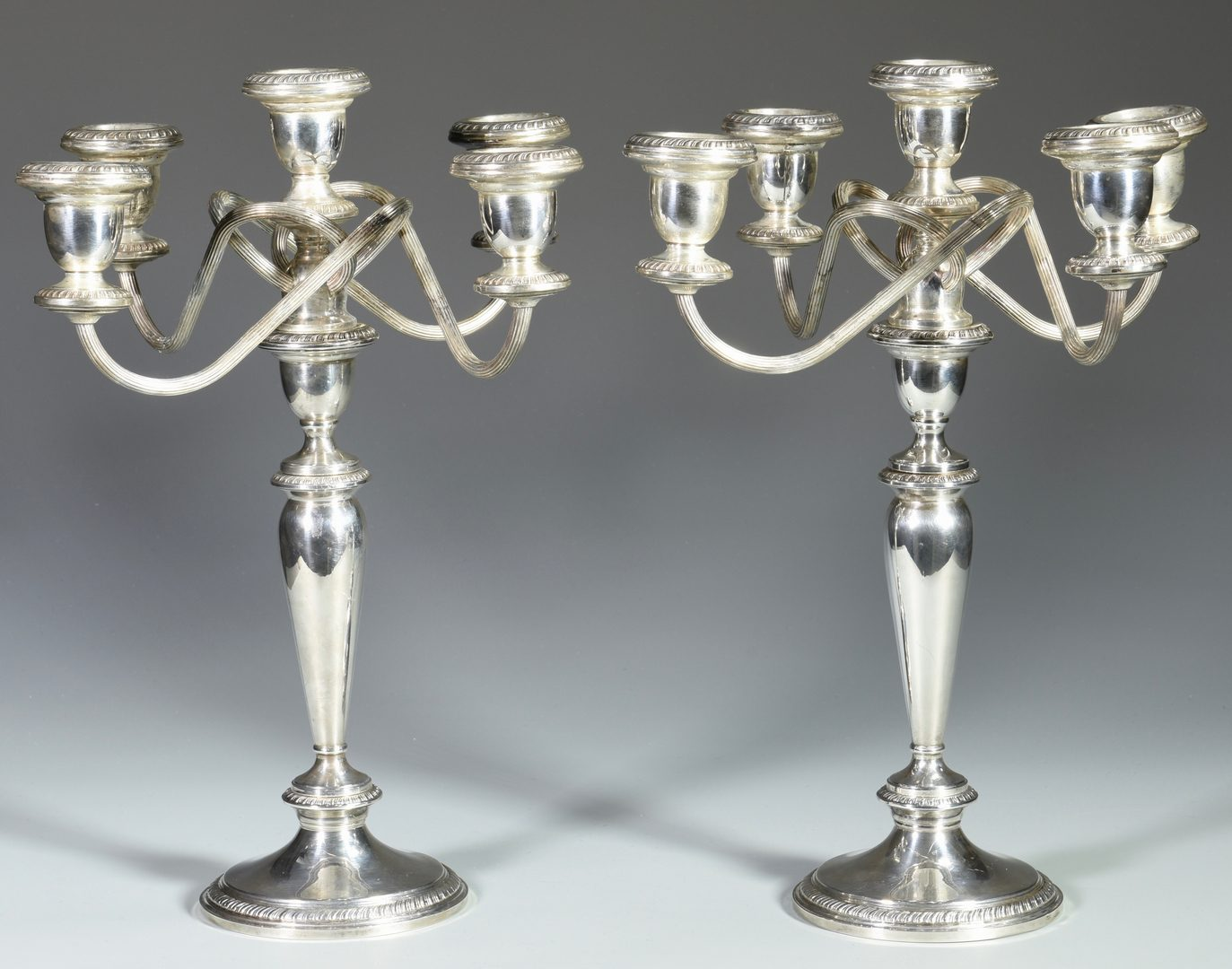 Lot 155: Pair of Poole Sterling Silver 5-Arm Candelabra
