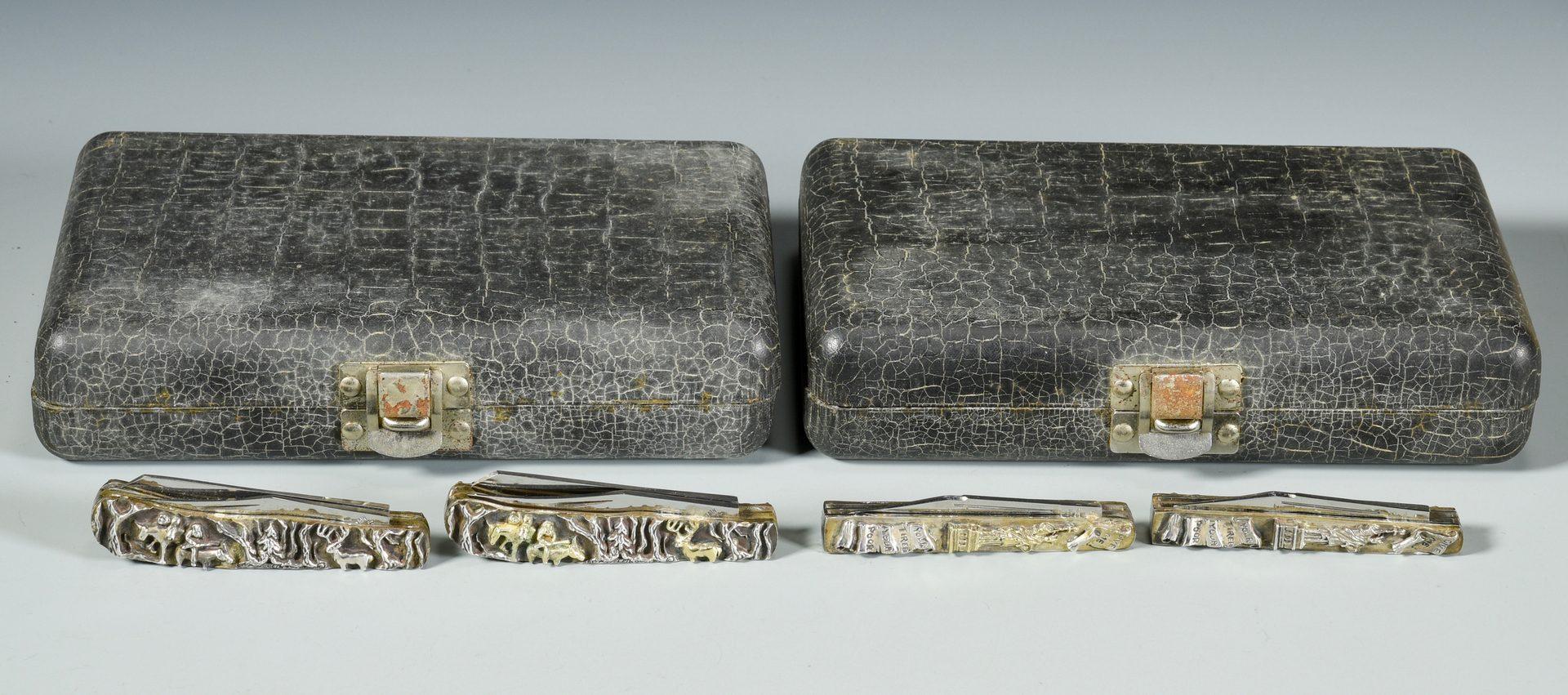 Lot 157: 2 Sterling & Gold Trapper Knife Sets