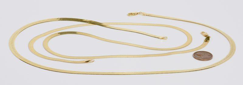 Lot 16: 2 14K Herringbone Necklaces, 25.6 grams