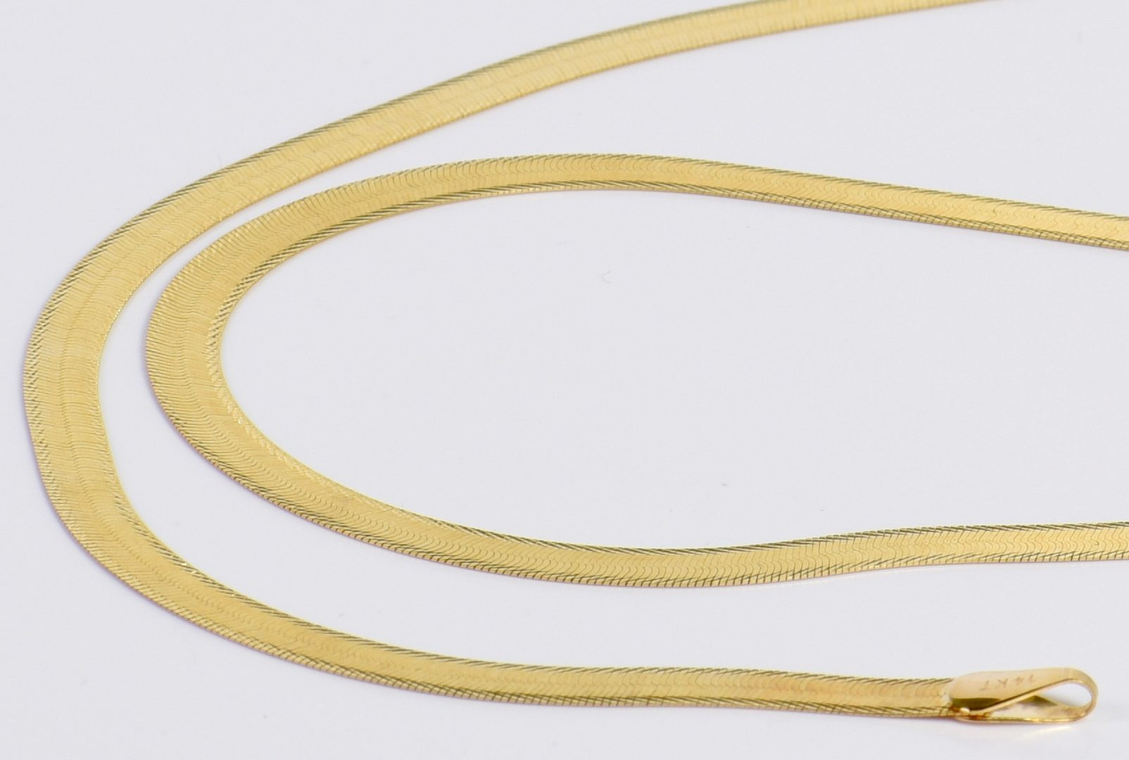 Lot 16: 2 14K Herringbone Necklaces, 25.6 grams