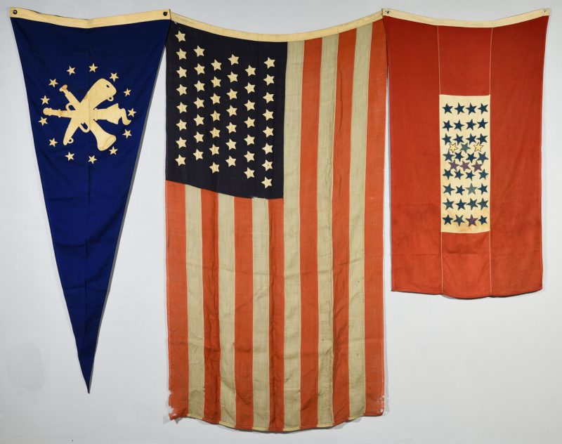Lot 171: Group of 2 US Flags & 1 Military Pennant