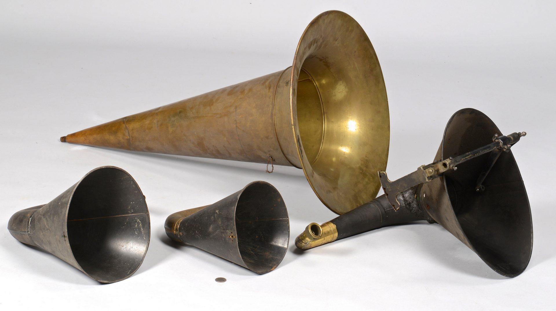Lot 177: 4 Phonograph Horns & 78 Blue Amberol Cylinder Reco